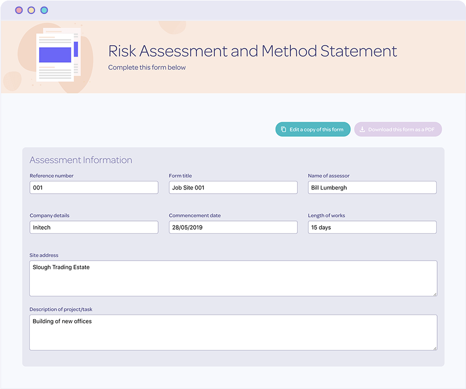 Protecting risk assessments and method statements